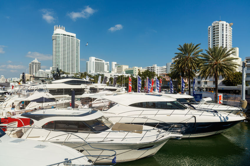 52389017 - miami beach, fl usa - february 13, 2016: the popular miami international boat show features more than 3,000 boats and 2,000 exhibitors from all over the world.